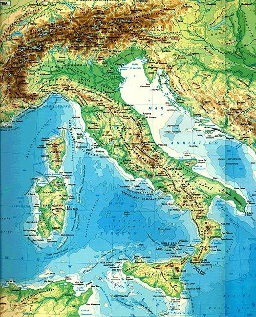 Cartina Fisica Dell Italia Centrale.La Carta Fisica Dell Italia